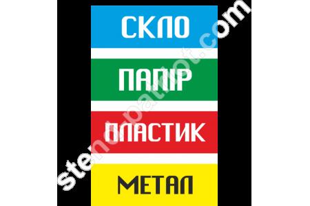 Таблички (наліпки) для роздільного збору сміття